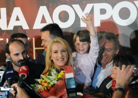 Rena Dourou - the successful SYRIZA candidate in Attica . The biggest electoral region of Greece.