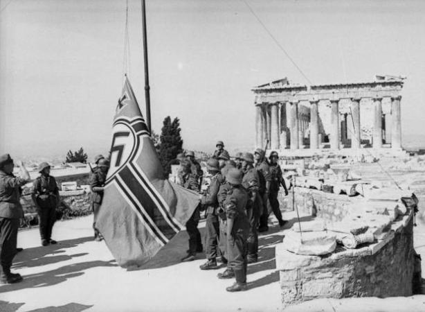The Nazi Flag that was first hoisted over Athens